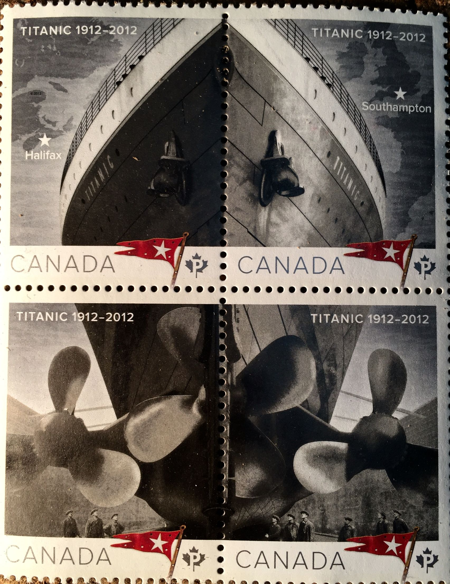 Canadian Titanic postage stamp commorating 100 years since the 1912 sinking