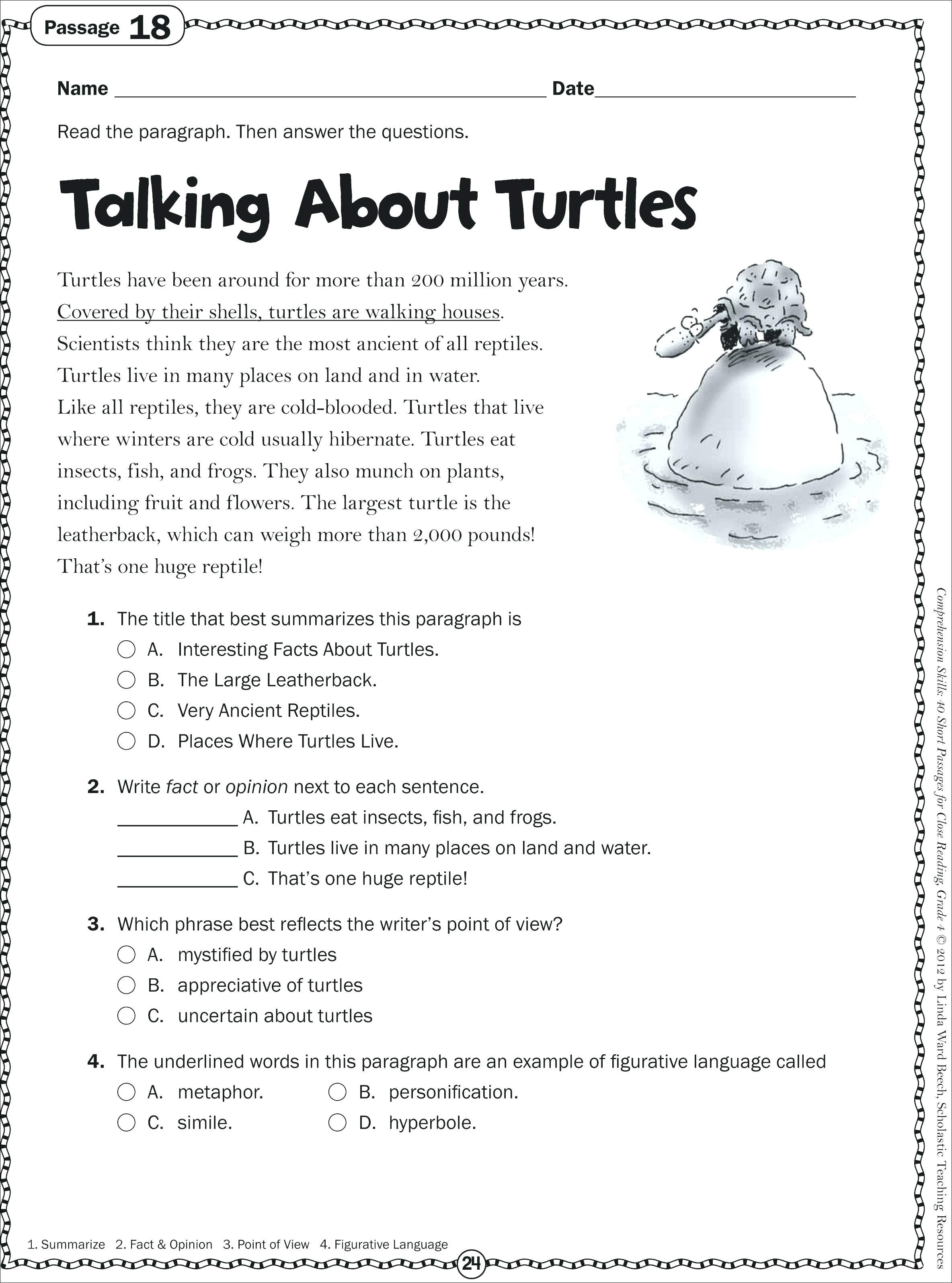 Language Arts Grade 5 Reading Worksheet