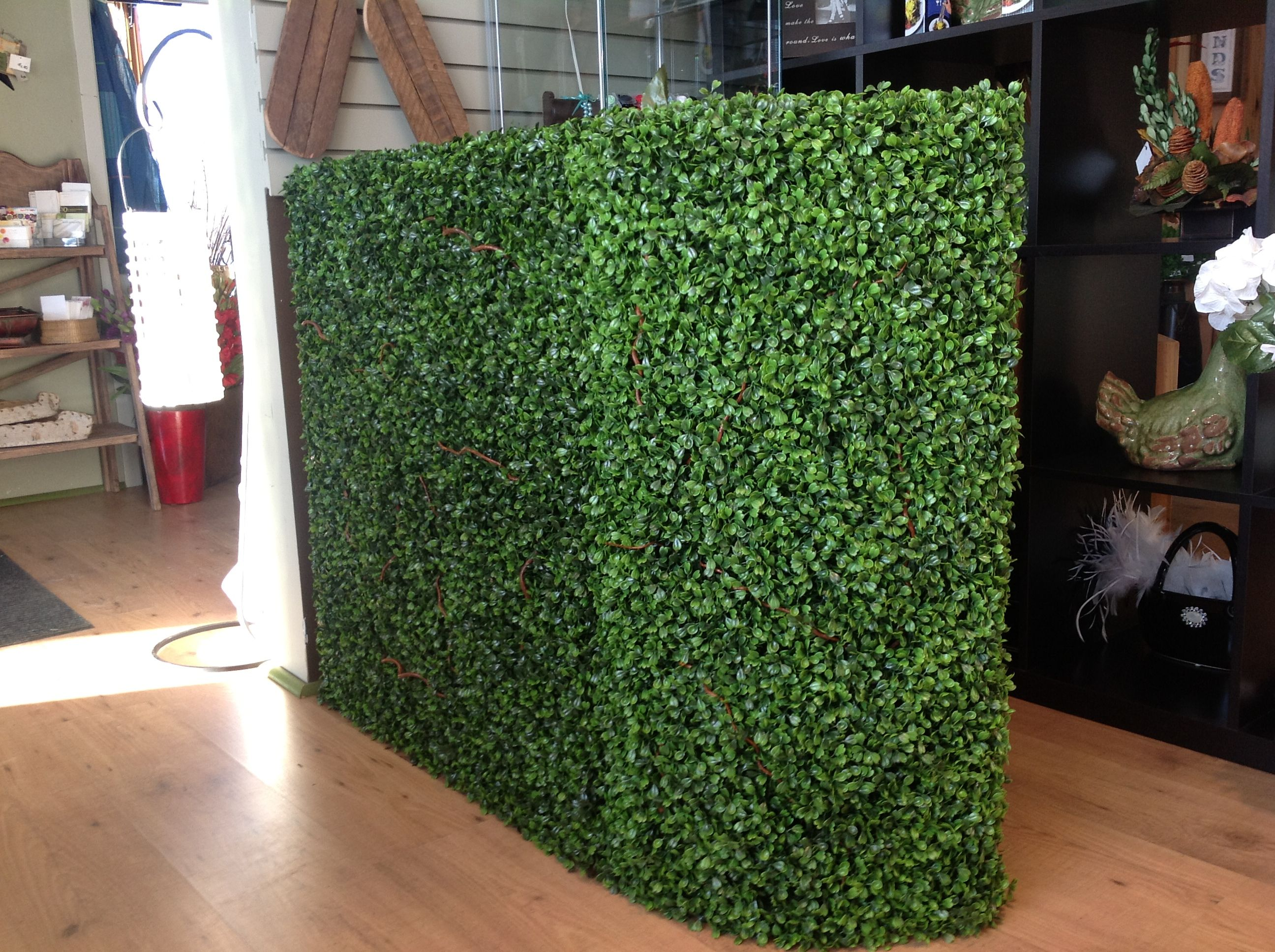 Artificial Boxwood shrub. Great for bar front , alter or