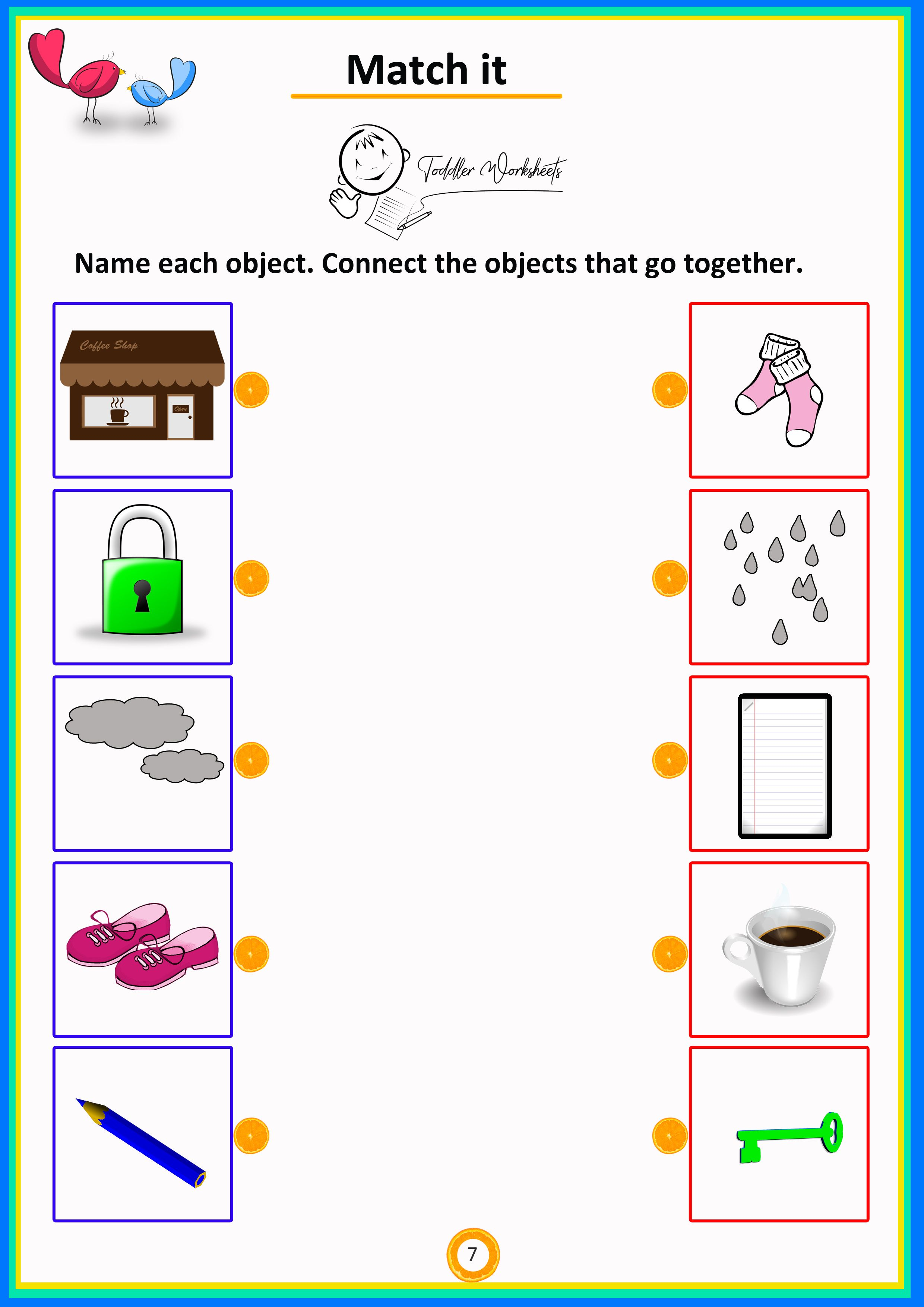 Match It 7 Toddler Worksheets Download With Images