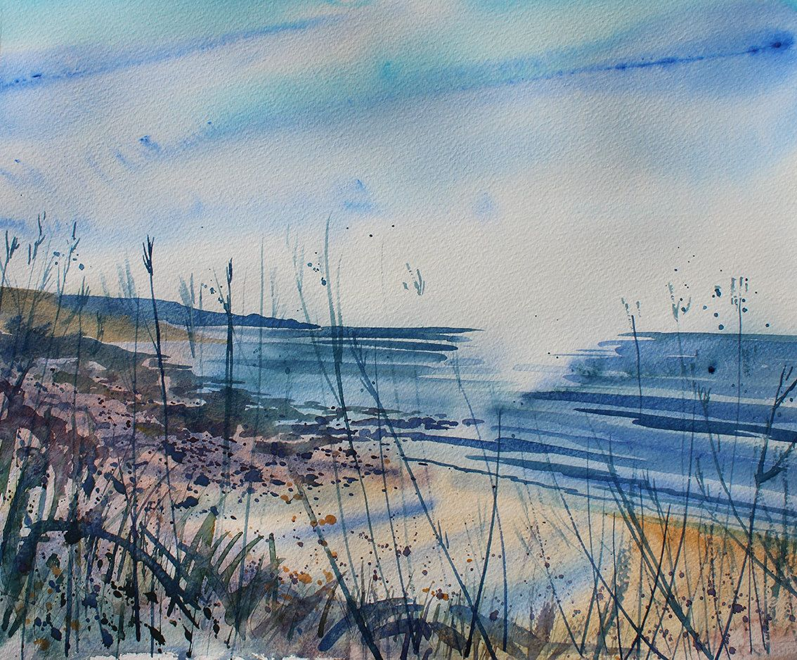 Original watercolour of the Cornish Coast, a loose, expressive watercolour. Seascape art, cliffs, sea and wild flowers by PenstoneArt on Etsy