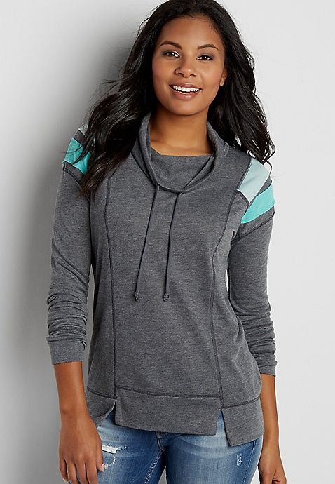 pullover sweatshirt with cowl neck and striped shoulders | maurices