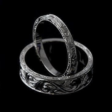 Men S Engraved Ring Art Deco Men S Wedding Band Hand Carved
