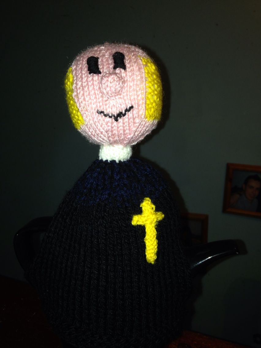 A vicar tea cosy made for my son