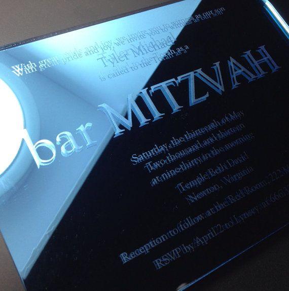 Blue Bar Mitzvah Invitation, Laser Engraved Mirror Acrylic, Simple, Graphic, Modern, Engraved Mirror - bar MITZVAH