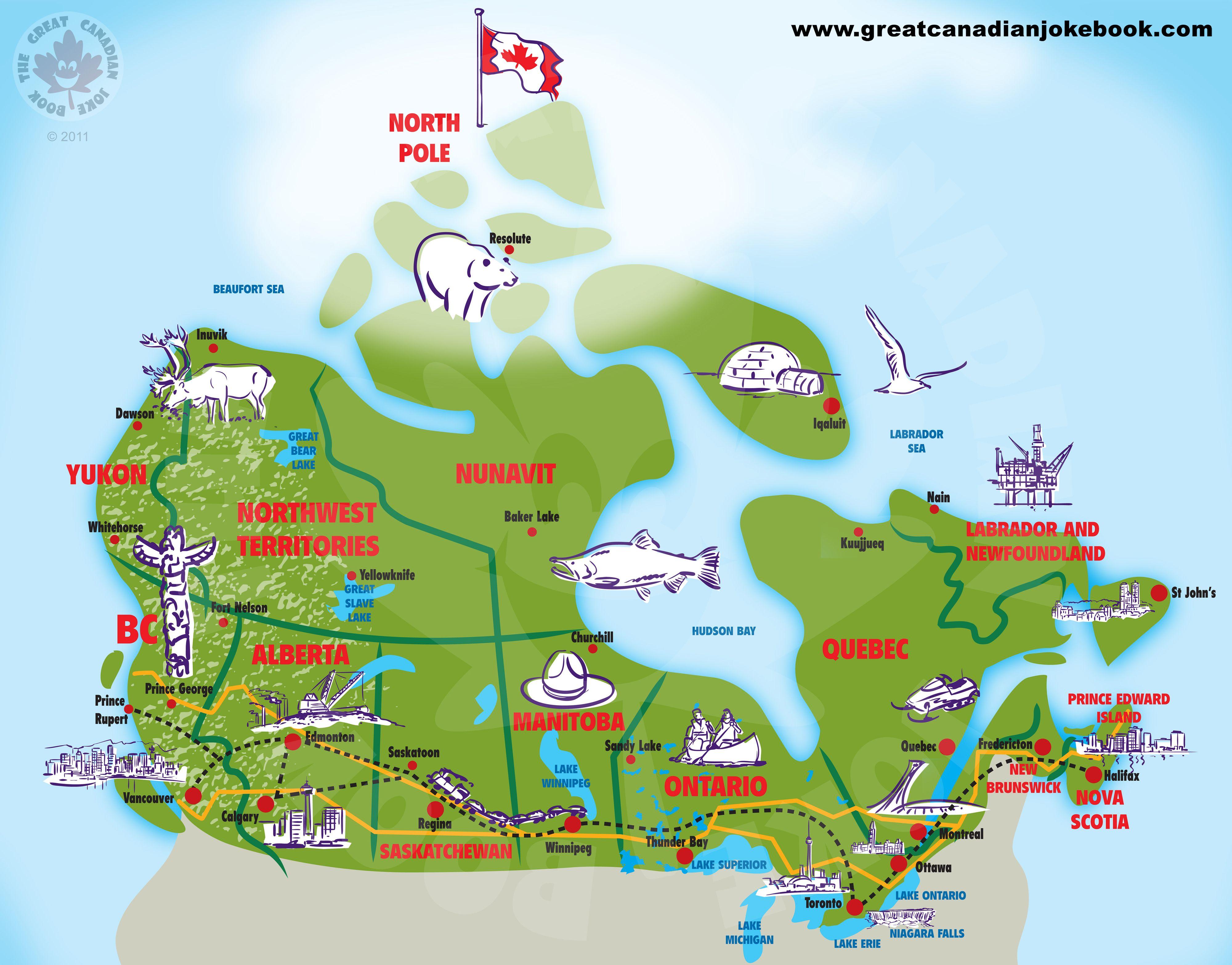 Canada Cartoon Map Cartoon Canada Map