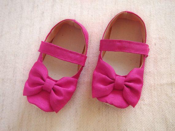 Baby girl shoes shantung fuchsia wedding shoes bow hot pink baby girl shoes shantung fuchsia wedding shoes bow hot pink flower mightylinksfo Choice Image