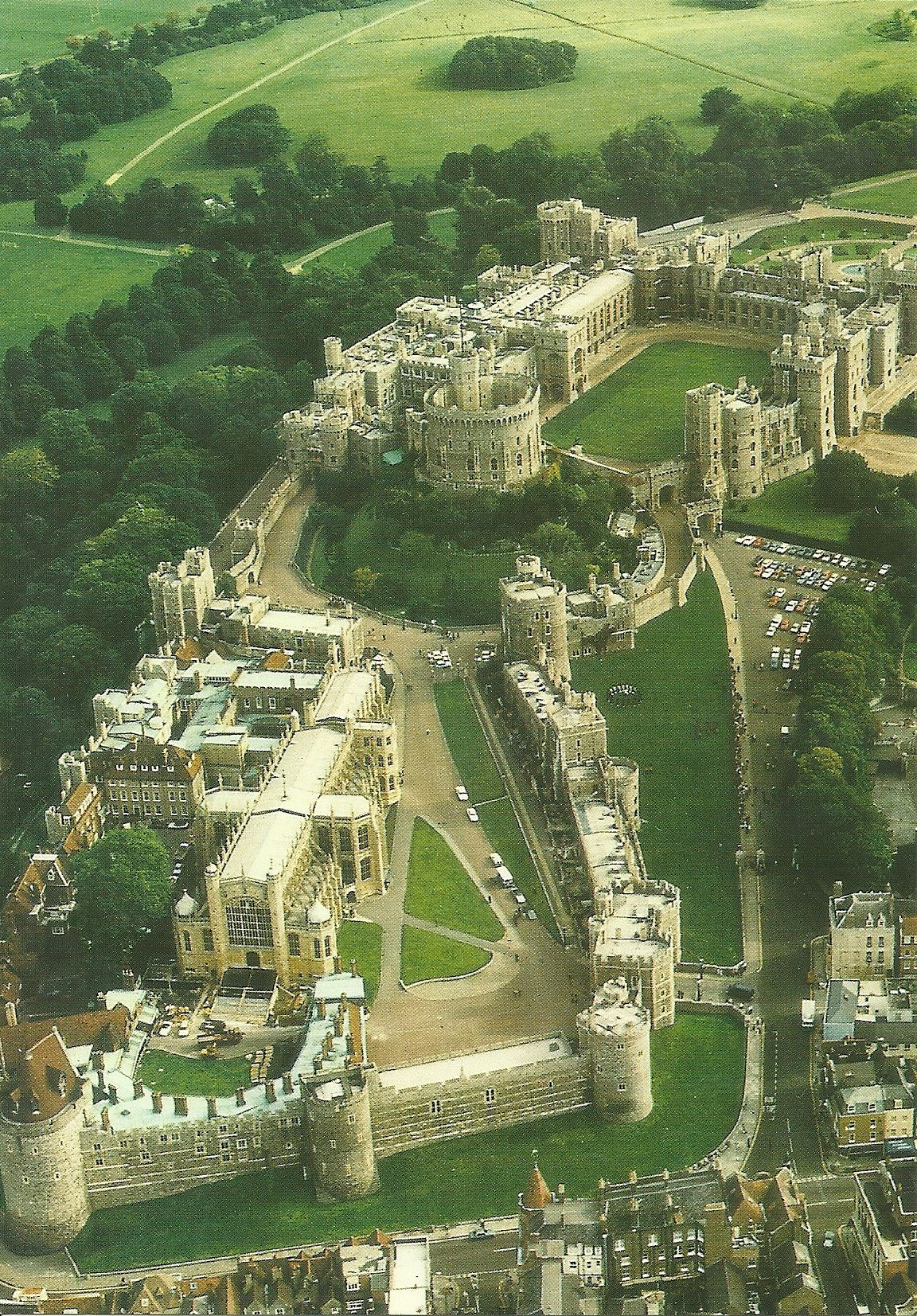 Aerial view of Windsor Castle, Windsor England. This is ...