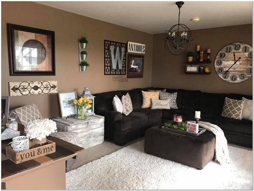 Awesome The Meaning Of Farmhouse Decor Living Room Ideas Coffee Tables Locate An Open Wa In 2020 Farm House Living Room Brown Walls Living Room Brown Living Room Decor