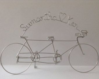Tandem Love Personalized Bike Wedding Cake Topper