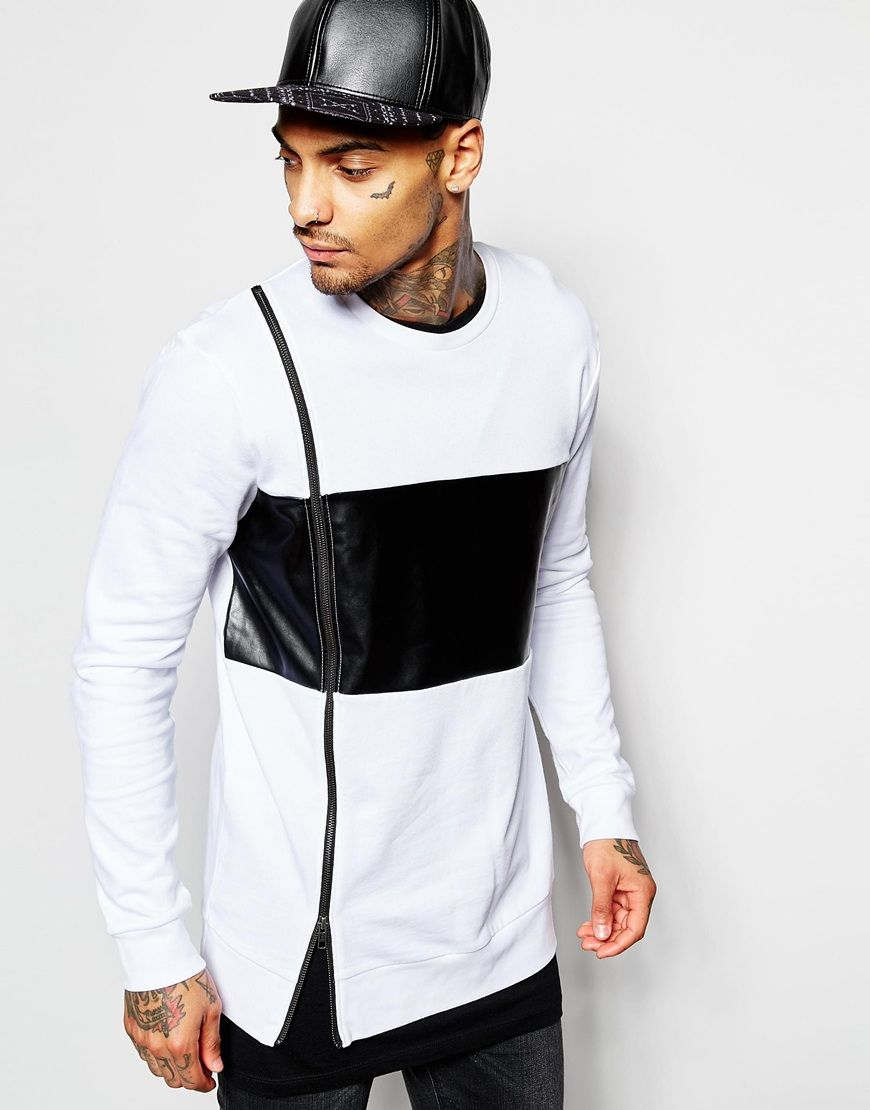 ASOS Longline Sweatshirt With Faux Leather Panel & Zip - that should be  mine!
