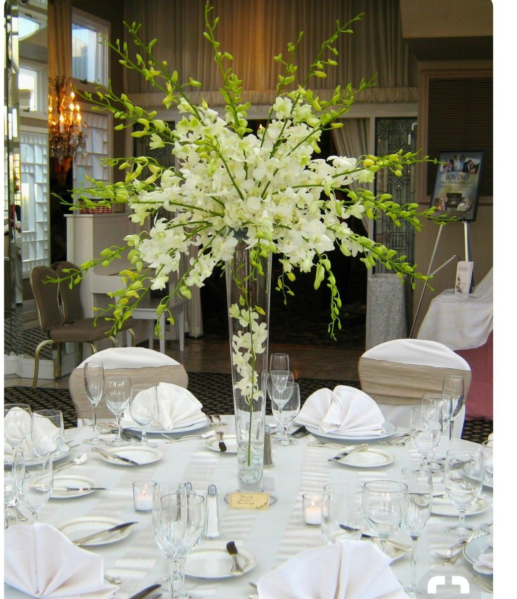 Tall white orchids wedding centerpiece idea manuelidaddes para