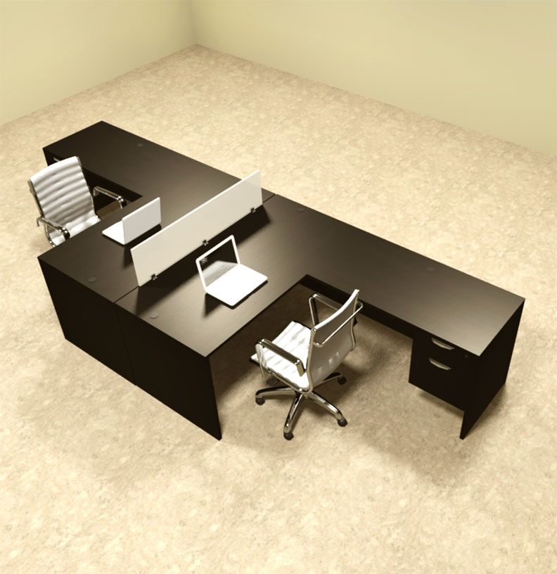 Two Person L Shaped Divider Office Workstation Desk Set Ot Sul