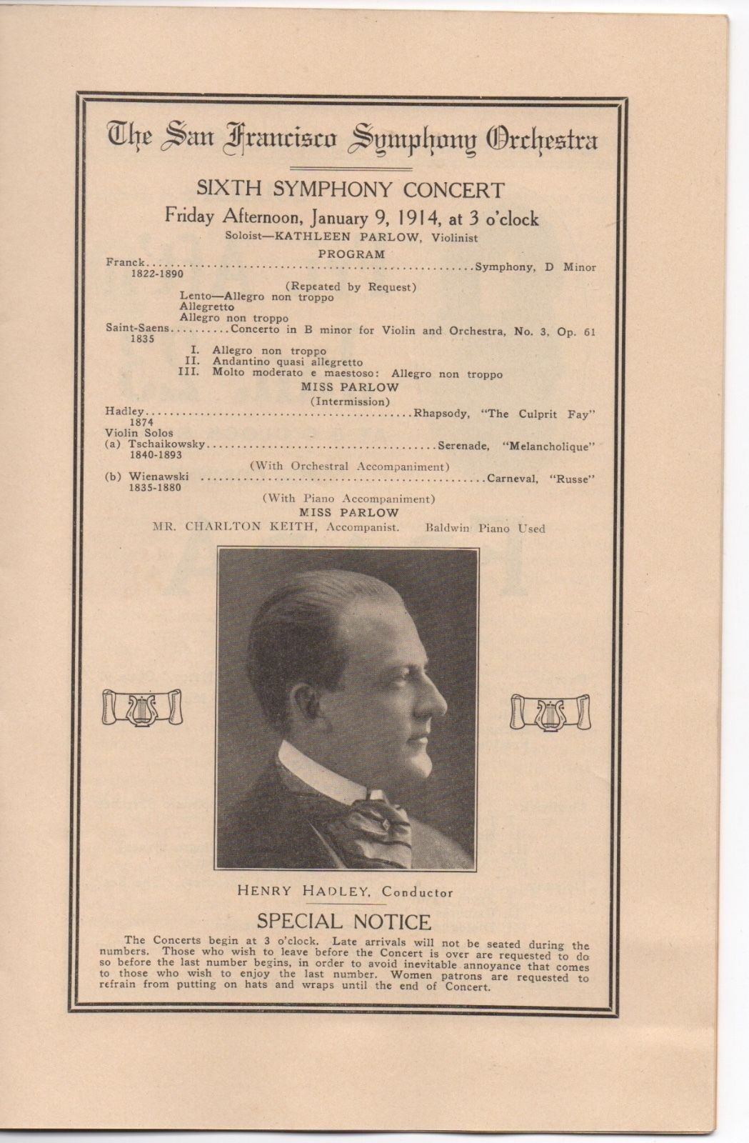 1913 Program from the 3rd Season of the San Francisco Symphony Orchestra