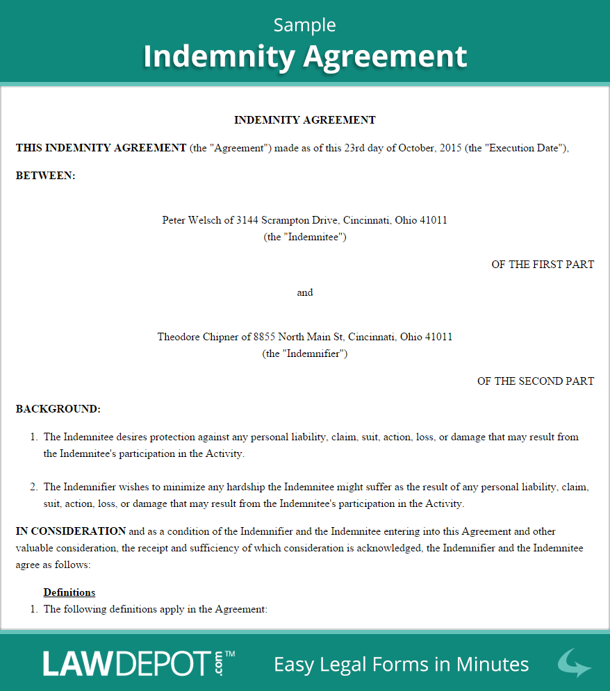 Indemnity Agreement Sample Resume Template Free Lettering Good Essay