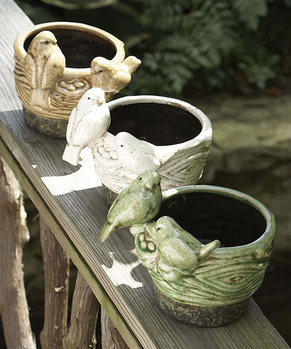 Love this Nesting Sparrow Cachepot Set by Napa Home