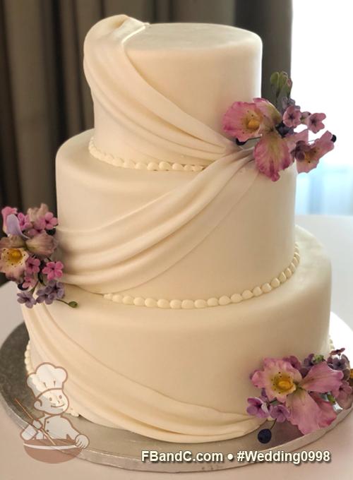 Design W 0998 | White Fondant Wedding Cake | 12\