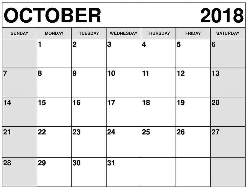 October Calendar Template Editable