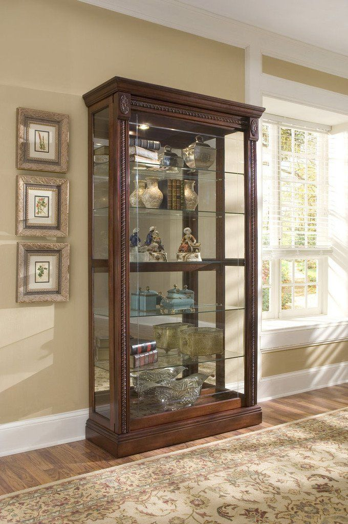 Medallion Cherry Curio Cabinet By Pulaski Furniture Pulaski