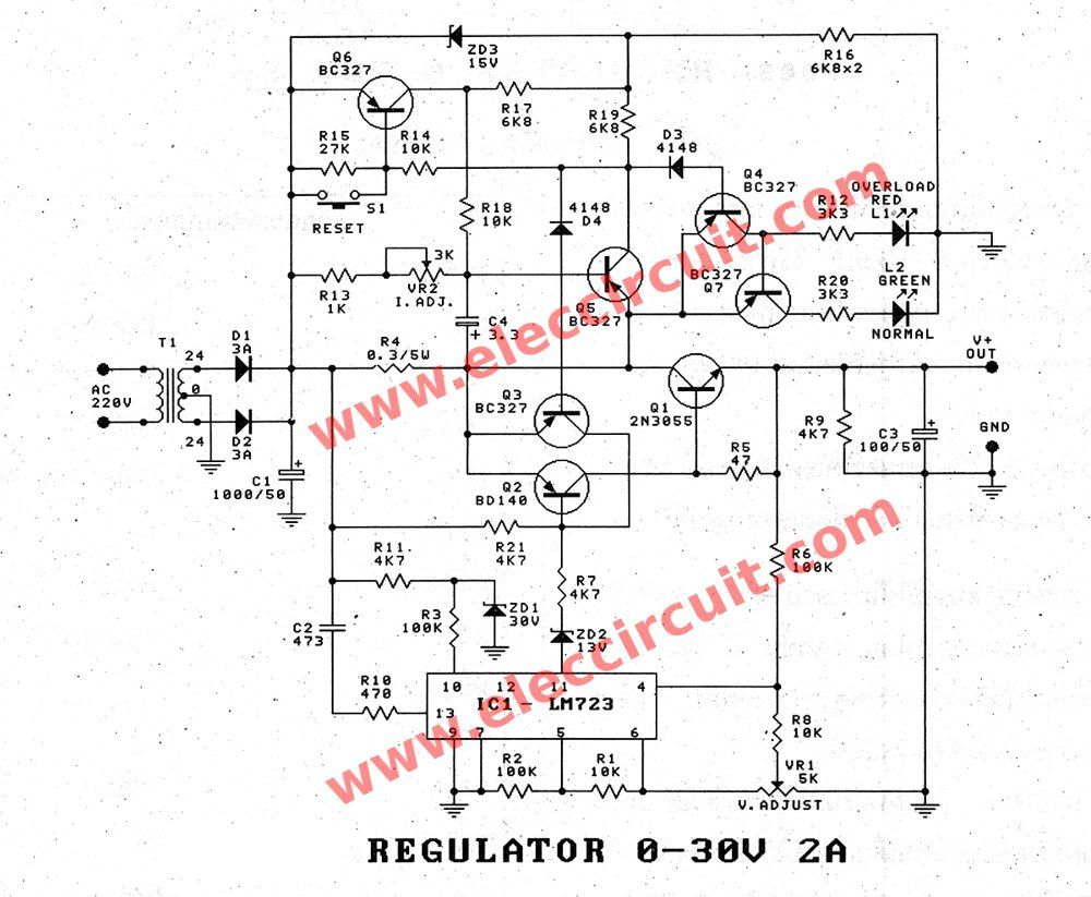 the schematic diagram of 0-30V-0-2A adjustable voltage and current regulator