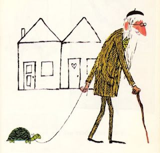 i once lived next to a guy who would walk his pet turtle.  the guy wasn't as sweet as this illustration, but the turtle was.