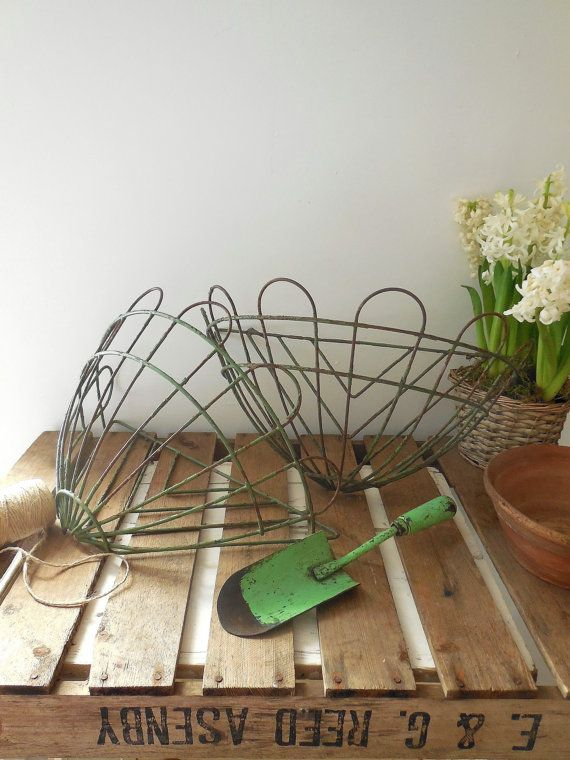 Vintage French Wire Wall Planters Baskets Plant Pots Vintage