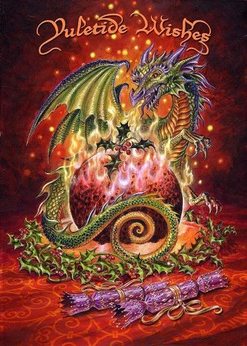 The Christmas Dragon.Flaming Dragon Pudding Yule Cards In 2019 Christmas