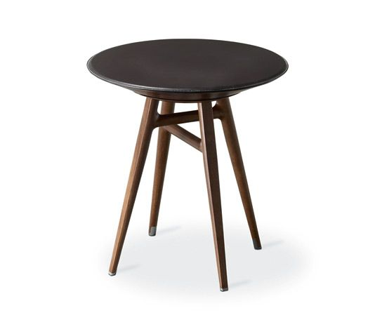 """""""Table a cachette"""" stool-table PM Hermes stool-table with a revolving drawer. H18.3"""" x D17.3"""" Top covered with ebony black taurillon essential leather. Revolving drawer in walnut plywood. Solid Canaletto walnut wood base with brushed inox plated finishings<br />"""