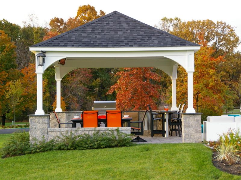awesome outdoor pavilion plans at the backyard with outdoor ...