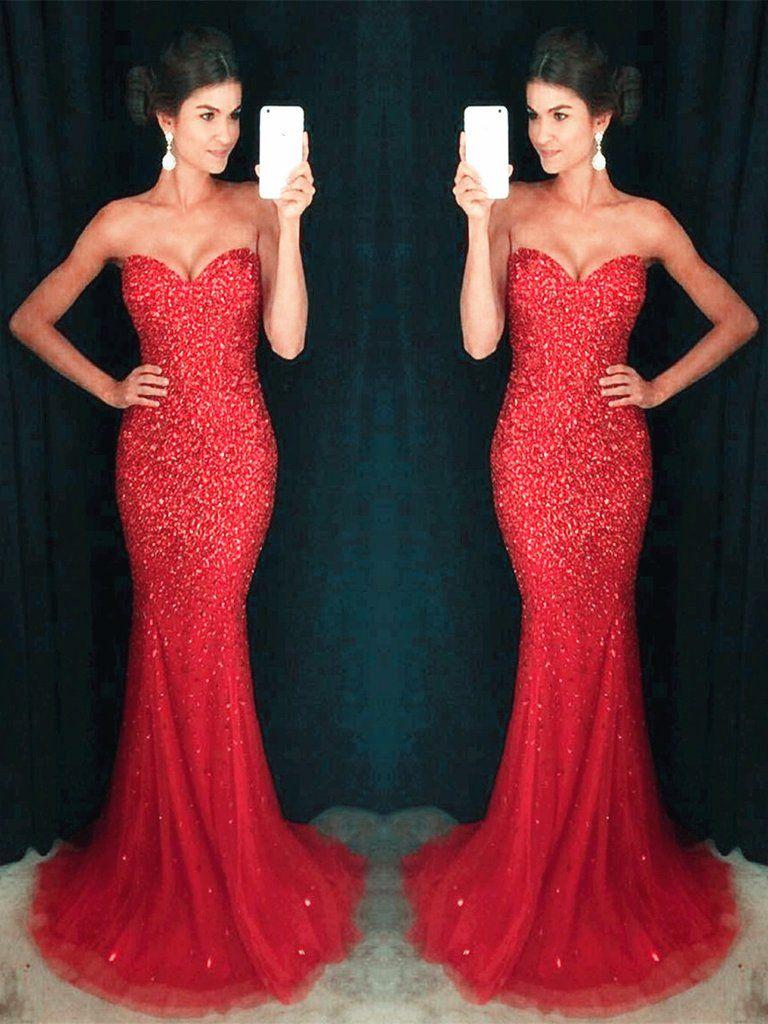 Red mermaid floor length strapless prom dresses red mermaid formal