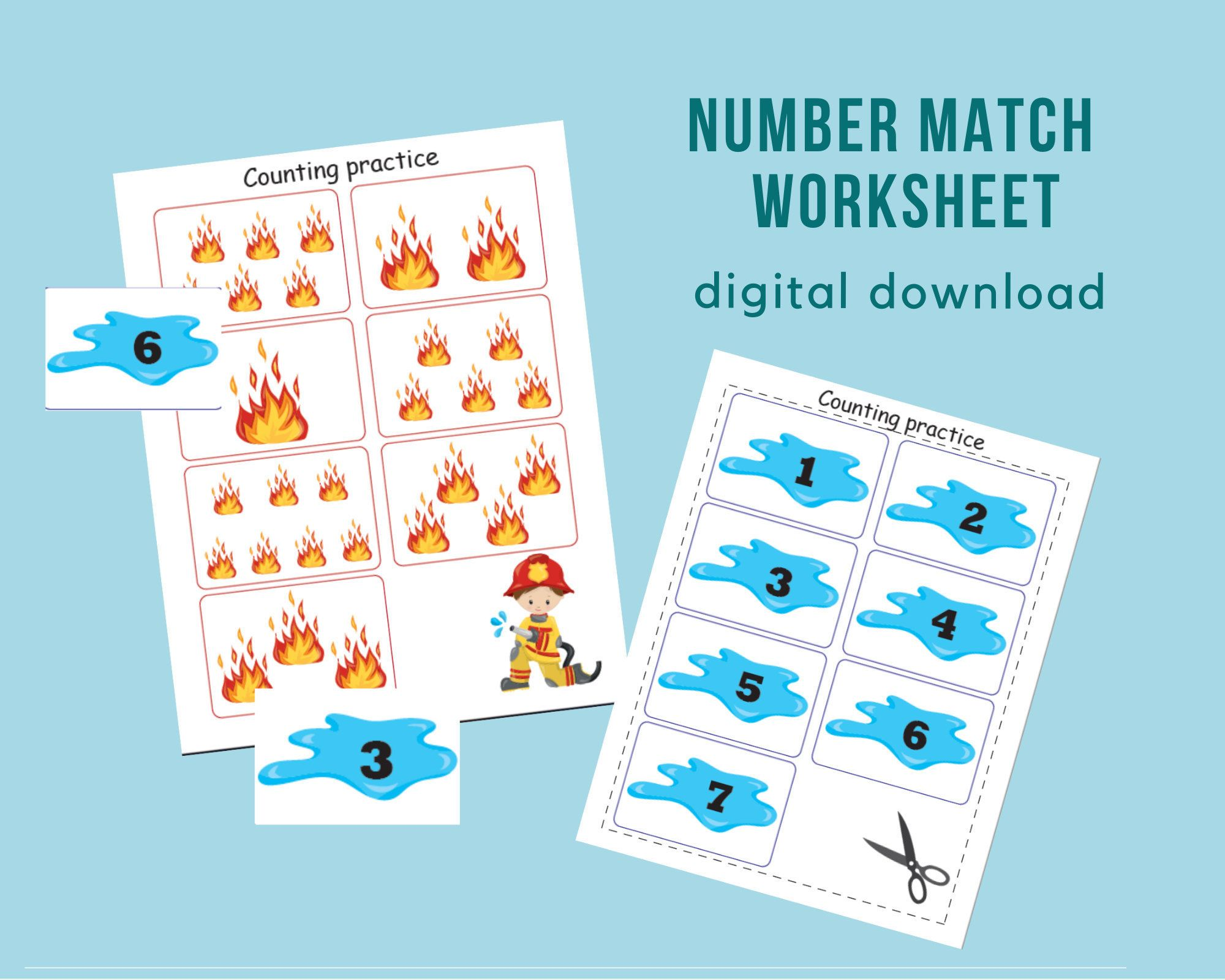 Number Match Worksheet Firefighter Themed Matching Game