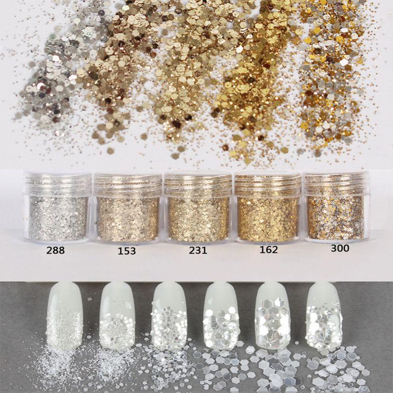 10 ml Argento Champagne Oro Mix Nail Glitter Paillettes Polvere di Polvere Per Nail Art Decorazione Gradiente set di ultra-flash multa powde