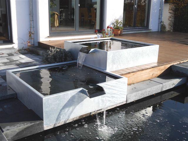 Wasserbecken aus Metall Gartenideen Pinterest Water features - terrassengestaltung mit wasserbecken