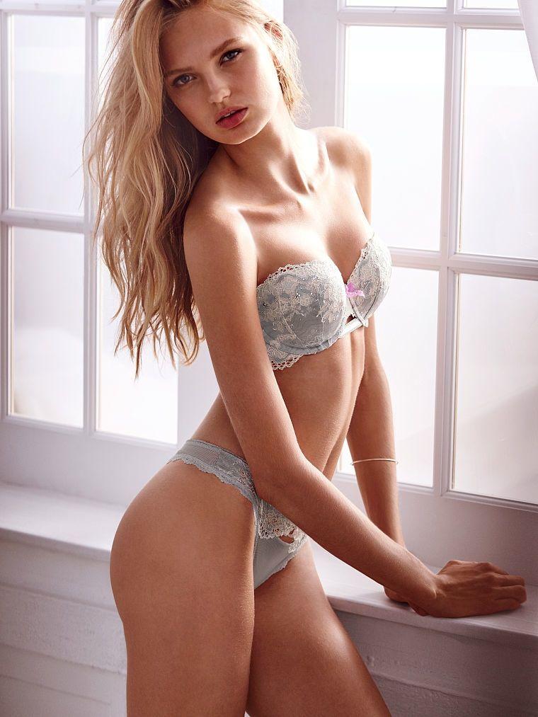 bb37602485 Model Romee Strijd wear Lace bra set in Victoria s Secret lingerie  catalogue 2015 Photoshoot