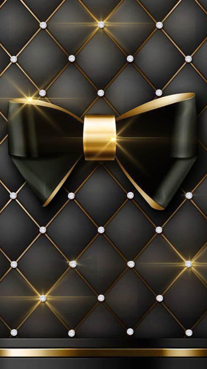 Luxury Black Gold Diamond Wall With Black Cushion Classy Diamond Wall Bow Wallpaper Diamond Wallpaper