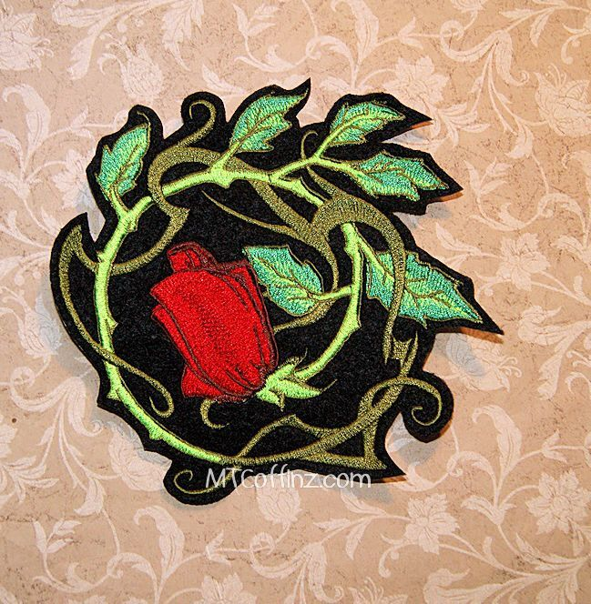 Vintage Tattoo Rose Vines Iron On Embroidery Patch