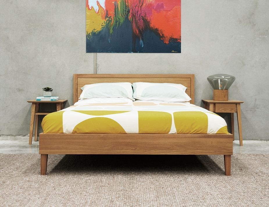 Solid Oak Queen Bed Oak Bed Frame Contemporary Bedroom Furniture Bed Frame And Headboard
