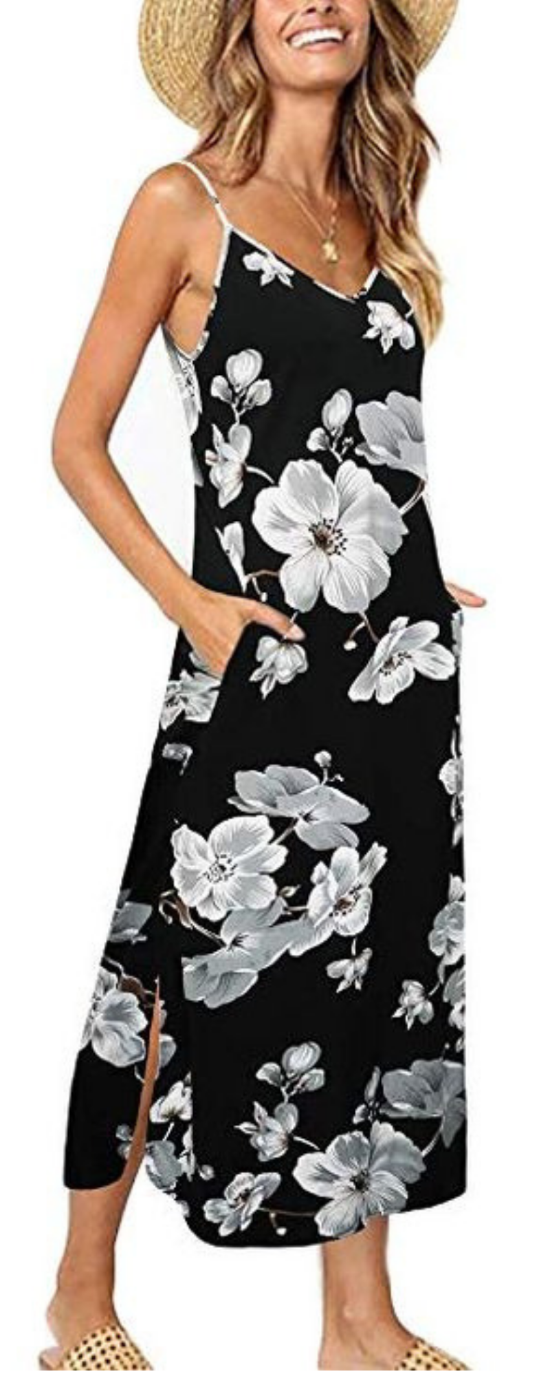 29697ad28 Women 3/4 Sleeve Striped Floral Print Tie Waist Party Maxi Dress with  Pockets