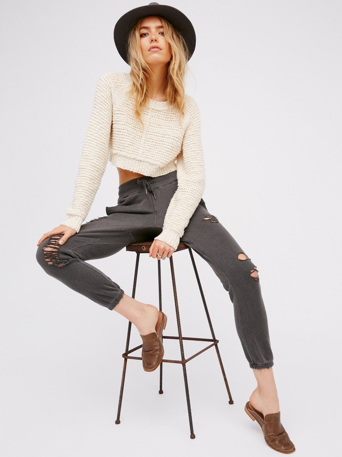 Sayde Jogger | Made in LA, these super comfy joggers feature an easy drawstring closure at the waist and effortless elastic at the ankle cuffs. Distressing throughout for a cool girl edge. Hidden side pockets and exposed back pocket.