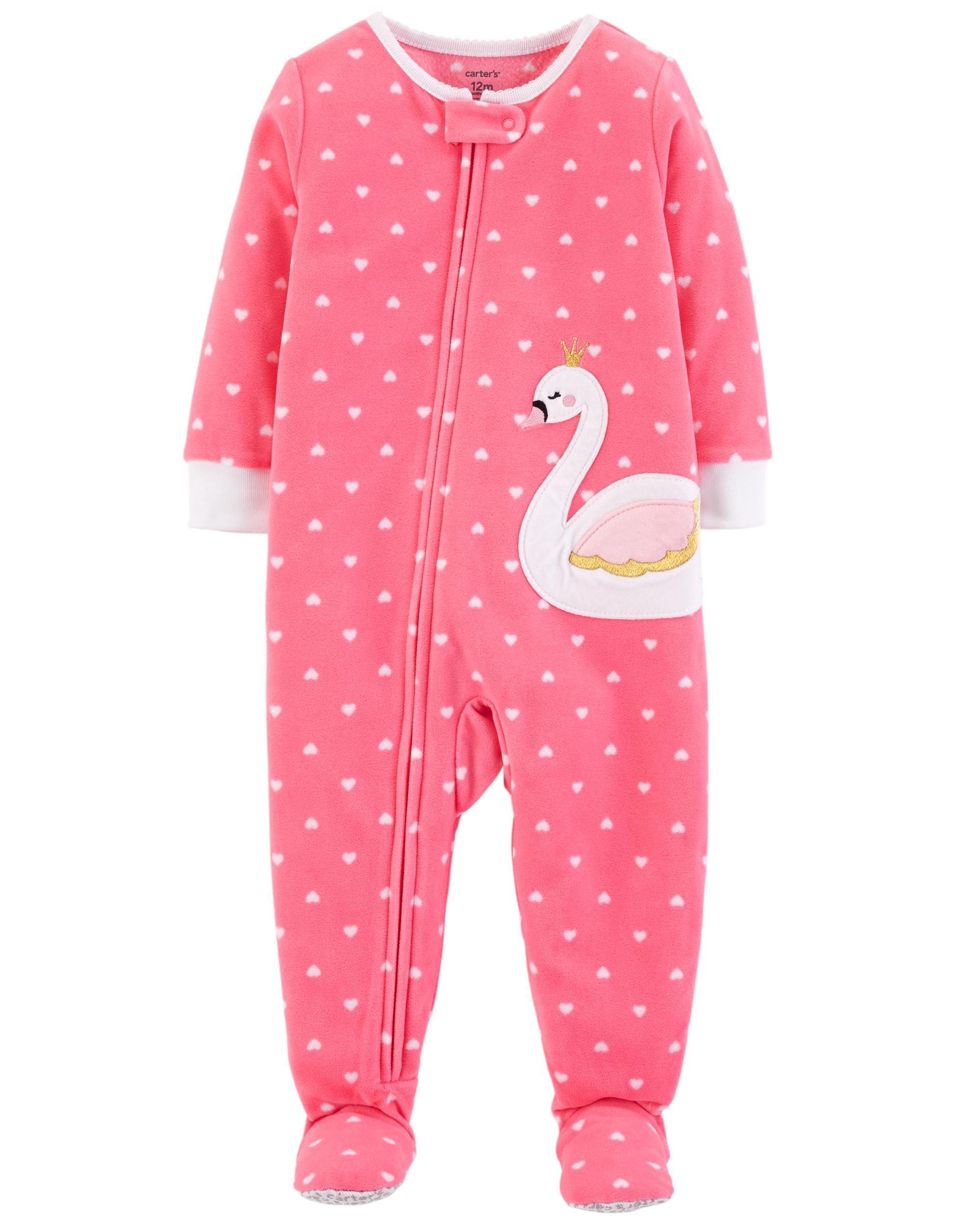 7780fe60ab83 1-Piece Swan Fleece PJs