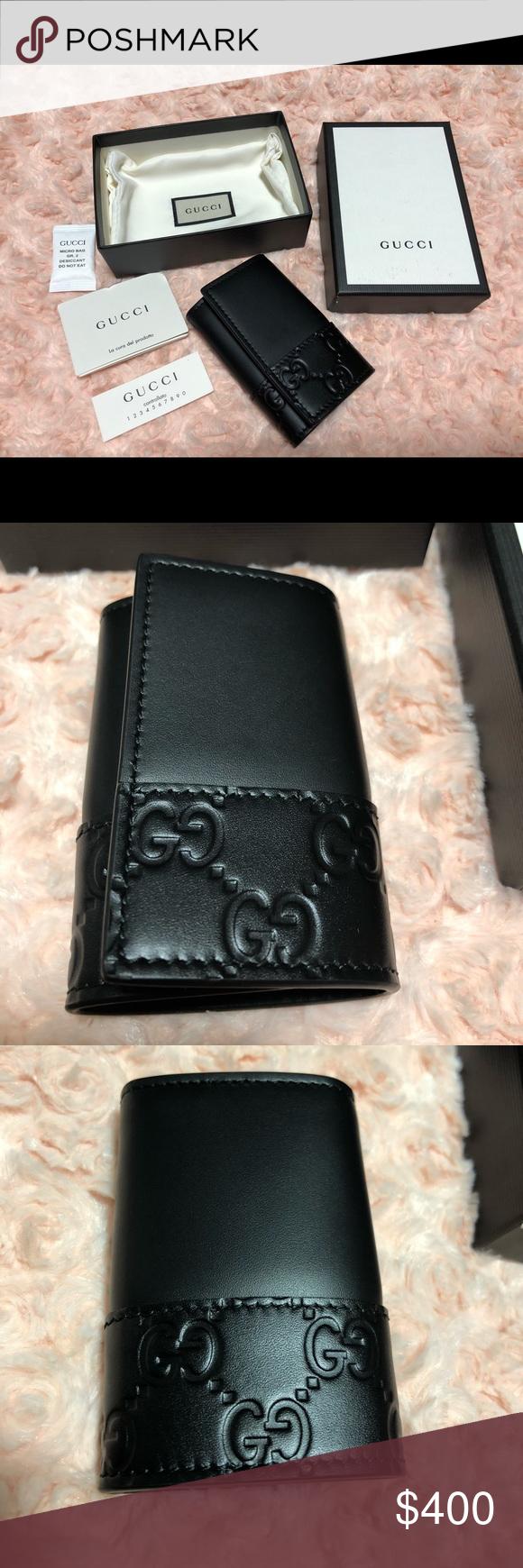 92859a1bebf 🆕 GUCCI Key Holder Black Wallet Case GUCCISSIMA NWT
