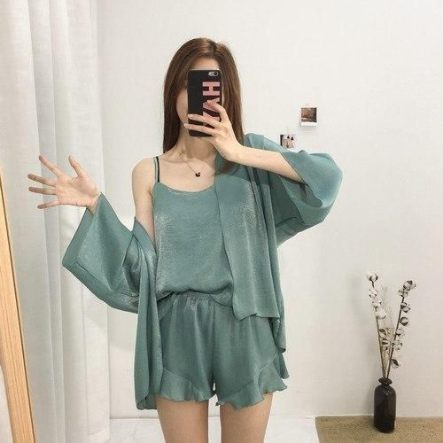 Summer Pajamas Sets Women Fashion Faux Silk Satin Loose Pijama Sleepwear Cardigan & Camisole Pajamas Pyjamas Short Homewear
