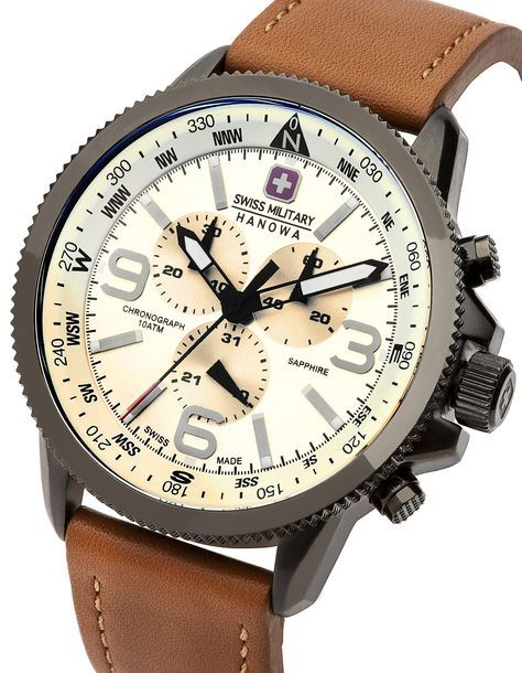 Swiss Military 6-4224-30-002 Mens Arrow Brown Chronograph Watch ... f91ce3cc95a