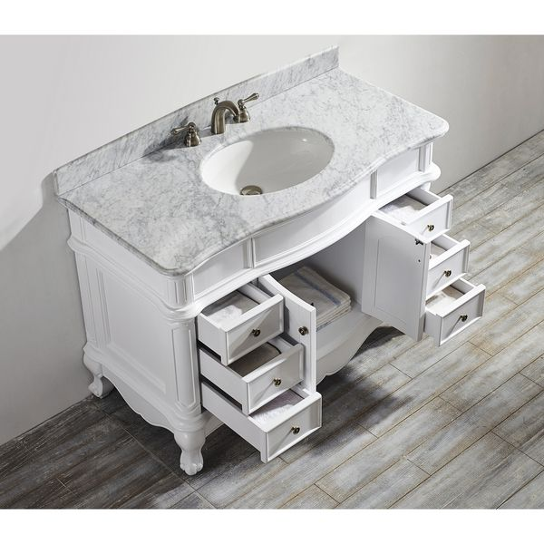 Messina 48 Inch Single Vanity In White With Carrara White Marble Top