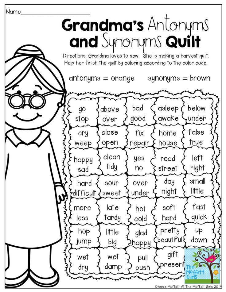 Grandmas Quilt Antonyms And Synonyms Color By The