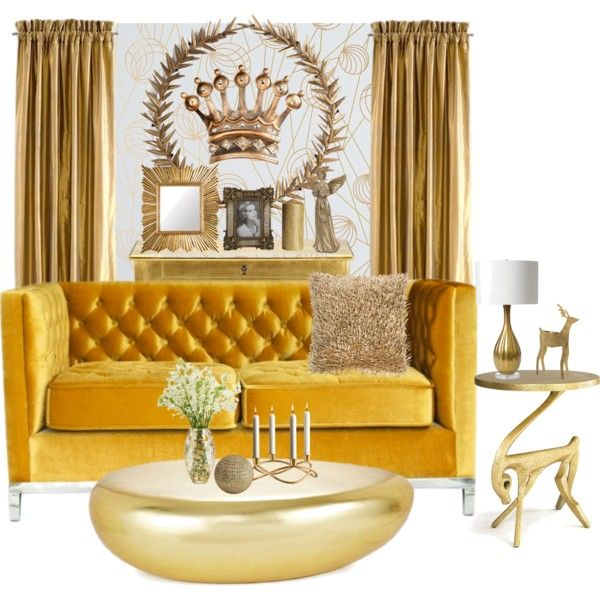 A home decor collage from November 2014 featuring tufted loveseat, gold table and round table. Browse and shop related looks.
