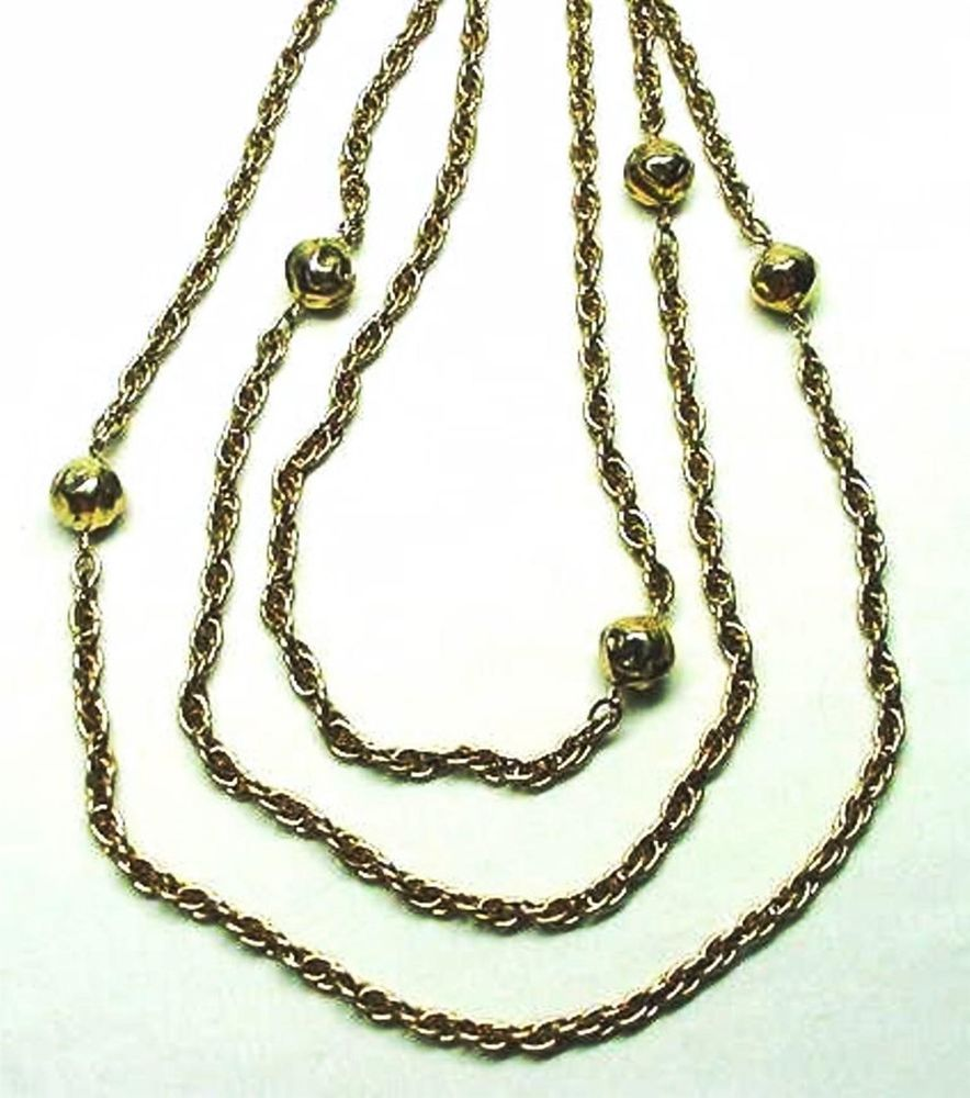 VINTAGE CORO EXTRA LONG GOLD BALL INTERLOCKING CHAIN DRESS SERPENTINE NECKLACE #Coro