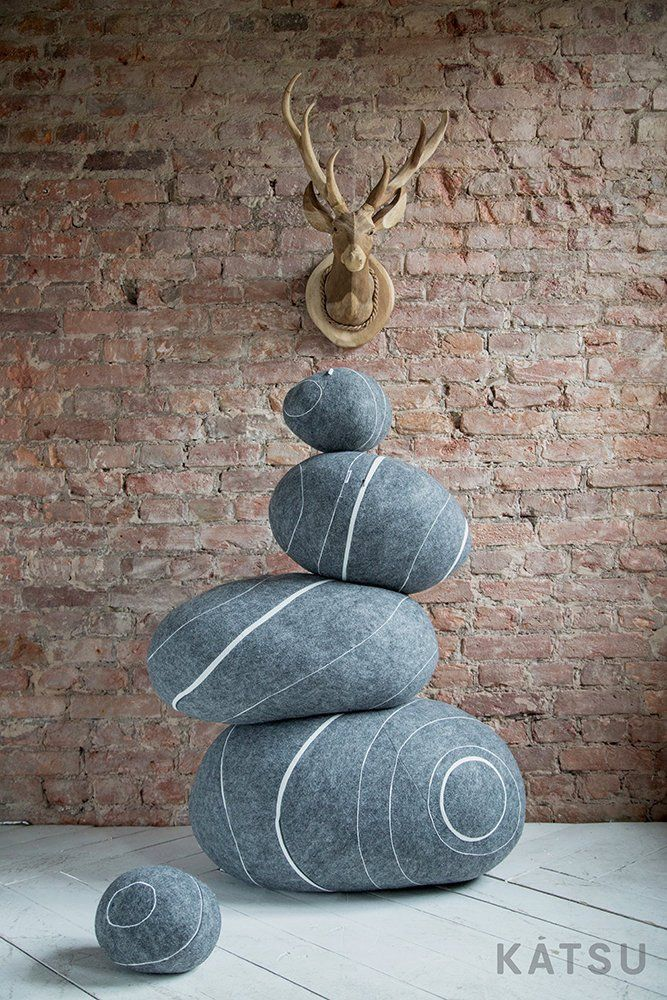 Pouf Ottoman Look Like Stone Different Colors And Sizes