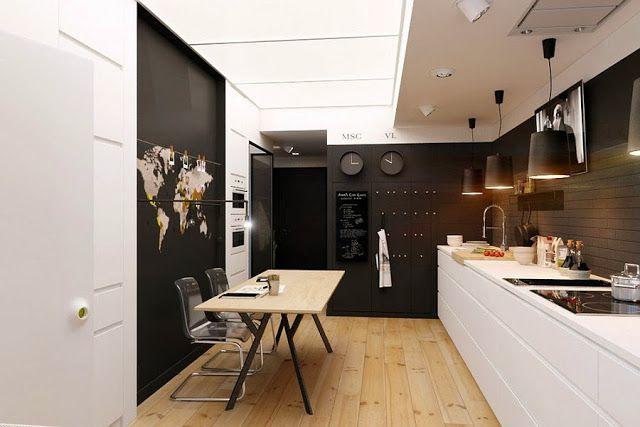 Apartamento pequeno decorado a preto e branco