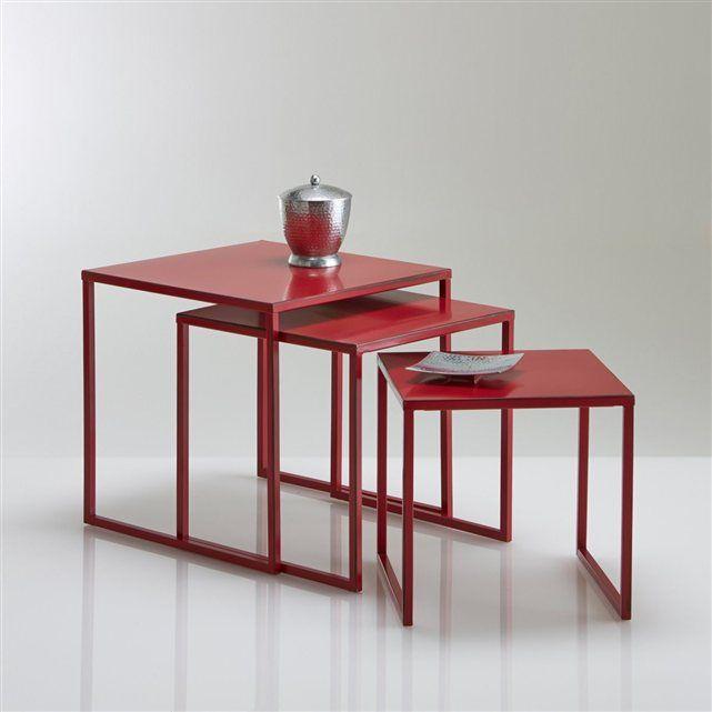 tables gigogne acier laqu vieilli lot de 3 hiba la redoute interieurs